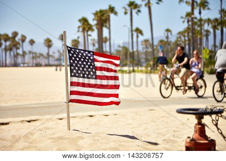 American Flag waving on Venice Beach California