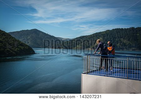 Cook Strait New Zealand - March 5 2016: Passengers on ferry traveling from Wellington to Picton via Marlborough Sounds New Zealand