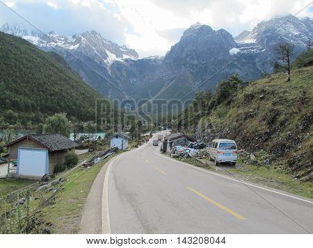 LIJIANG YUNNAN CHINA - OCTOBER 19 2015 : Blue Moon Valley in Jade Dragon Snow Mountain Lijiang Yunnan China