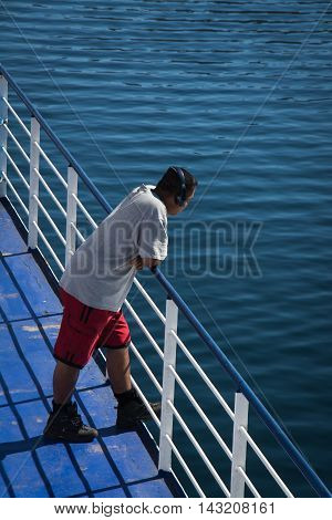 Cook Strait New Zealand - March 5 2016: Passenger on ferry traveling from Wellington to Picton via Marlborough Sounds New Zealand