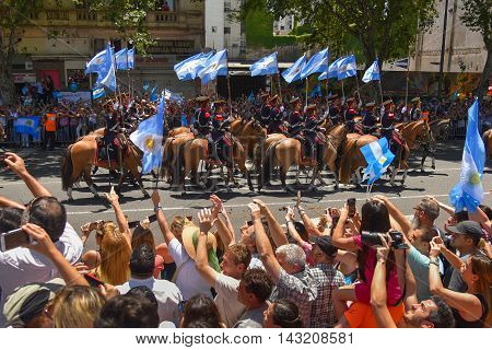 Buenos Aires Argentina - Dec 10 2015: Members of the Regiment of Mounted Grenadiers leave the Congress after inauguration of the newly elected Argentine president.