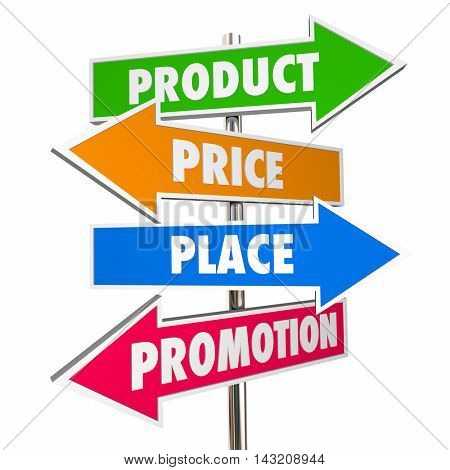 Product Price Place Promotion 4 Ps Marketing Signs 3d Illustration