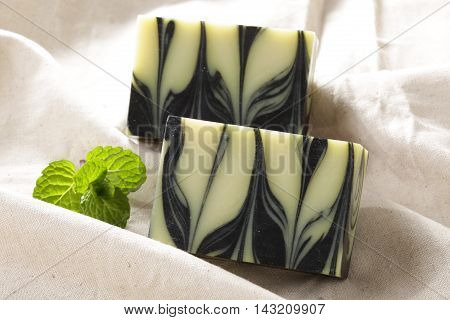 Charcoal soap deep cleansing with mint on cloth