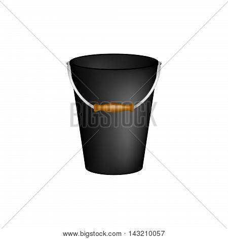 Bucket in black design on white background