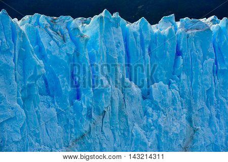 Close-up view of the Perito Moreno glacier in Patagonia Argentina.