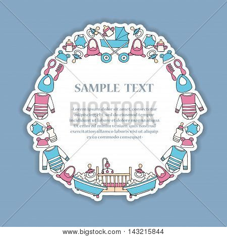 Cute illustration of decorative frame with hand drawn colored symbols of baby girl and baby boy. Frame on the theme of newborn babies. Vector background for use in design