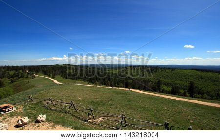 Cement Ridge view of the Black Hills in South Dakota USA with split rail fence