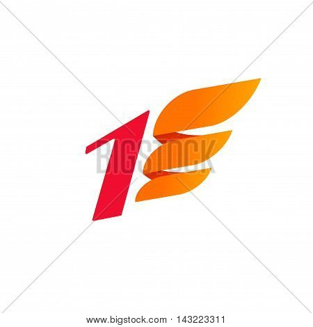 Number one logo vector design template isolated on white, flat red number 1 with orange wing icon, modern creative logotype element