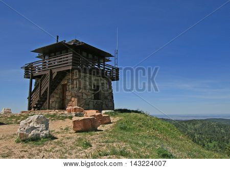 Cement Ridge Fire Lookout Tower in the Black Hills of South Dakota USA
