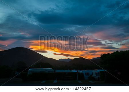 Sunset At Peketa Beach, Kaikoura, South Island Of New Zealand