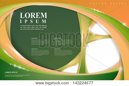 modern poster template design with glossy wave elements