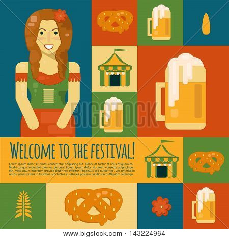 Oktoberfest icons and symbols in flat style. Vector illustration for october festival with beer pretzel tent and waitress.