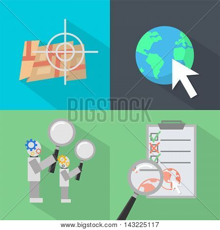 Set of great flat icons with style long shadow icon and use for search engine optimization, internet , marketing, advertising and much more.