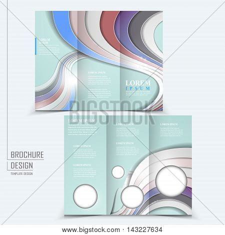 elegant tri-fold template design with glossy wave elements