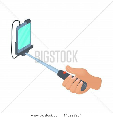 Hands holding selfie stick with smartphone icon in cartoon style isolated on white background. Device symbol