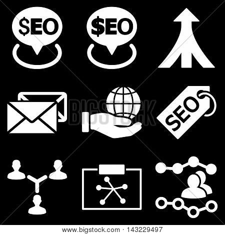 Seo vector icons. Pictogram style is white flat icons with rounded angles on a black background.