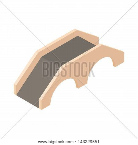 Bridge with hoist icon in cartoon style isolated on white background. Architecture symbol
