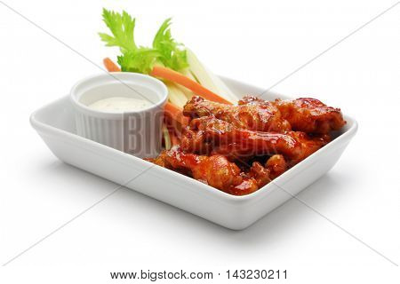 buffalo chicken wings, american food isolated on white background