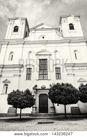 Jesuit church in Skalica Slovak republic. Religious architecture. Place of worship. Black and white photo. Cultural heritage.