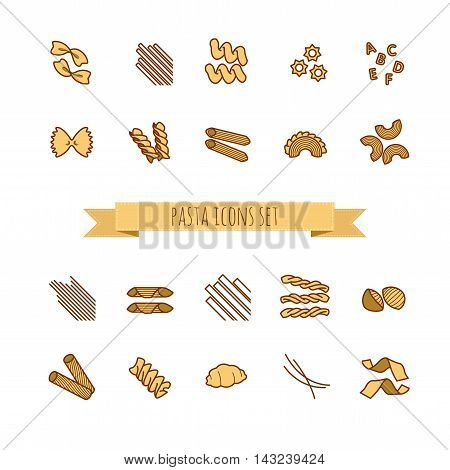 icons set of various pasta shapes for your design