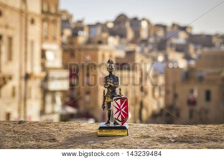 Valletta, Malta - Maltese knight in the ancient city of Valletta