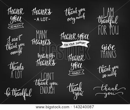 Thank you Friendship Family Positive quote thanksgiving lettering. Calligraphy postcard graphic design typography element. Hand written vector postcard. I cant thank you enough Give thanks Thankful