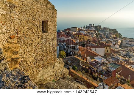 Panoramic view to old town of Kavala, East Macedonia and Thrace, Greece poster