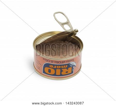 CHISINAU MOLDOVA - AUGUST 12 2016: Open can of Rio Mare brand tuna in olive oil. Rio Mare is manufactured by Bolton Group the European leader in canned tuna fish. With clipping path.