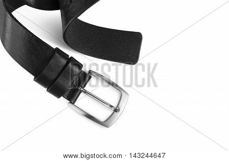 Black men's leather belt isolated on white background. With clipping path.