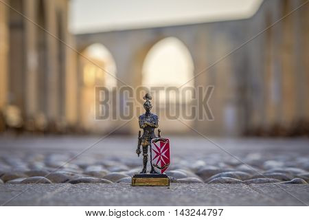 Maltese Knight with Upper Barrakka Gardens at background in Valletta, Malta