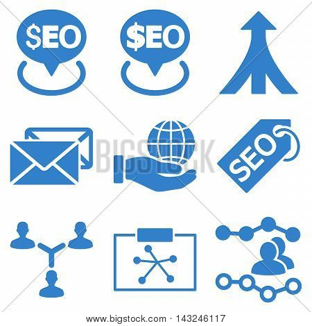 Seo vector icons. Pictogram style is cobalt flat icons with rounded angles on a white background.
