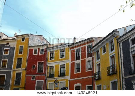 A row of famous colourful houses in the centre of Cuenca Spain