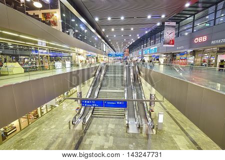 Vienna, Austria - August 14, 2016: Escalator In The Wien Hauptbahnhof, Main Railway Station In Vienn