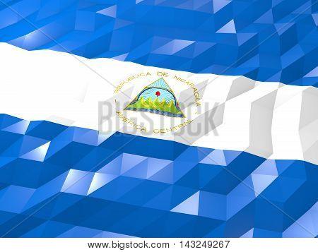 Flag Of Nicaragua 3D Wallpaper Illustration