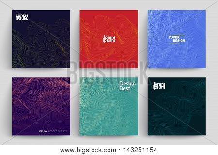 Set of Abstract Cards with Liquid Lines. Applicable for Covers, Placards, Posters, Flyers and Banner Designs.