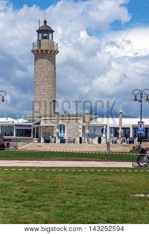 Cloudscape with Lighthouse in Patras, Peloponnese, Western Greece