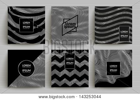 Black and silver backgrounds set. Eps10 vector templates for banner,flyer,menu,poster,cover etc.