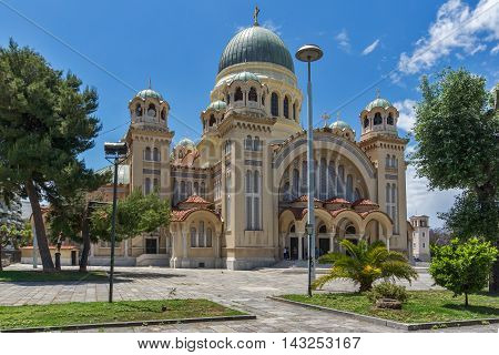 Panorama of Saint Andrew Church, the largest church in Greece, Patras, Peloponnese, Western Greece