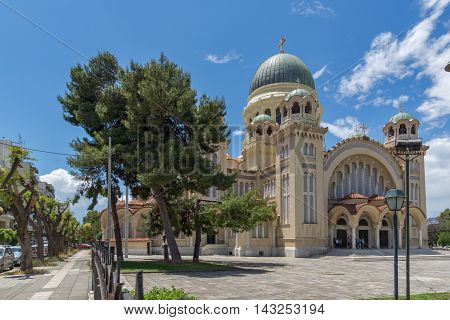 View of Saint Andrew Church, the largest church in Greece, Patras, Peloponnese, Western Greece