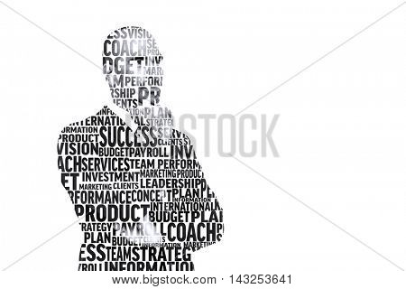 Businessman in buzzwords against white background with vignette