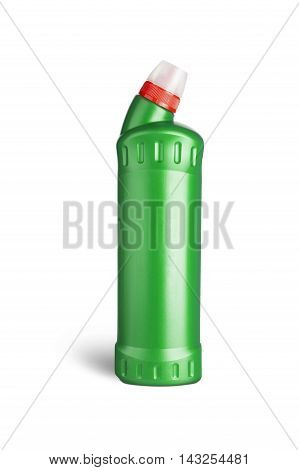 Green plastic bottle for liquid laundry detergent cleaning agent bleach or fabric softener. With clipping path