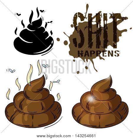 color vector cartoon illustration - a piece of shit with scent and flyes, also its silhouette and text shit happens
