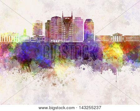 Nashville V2 skyline artistic abstract in watercolor background