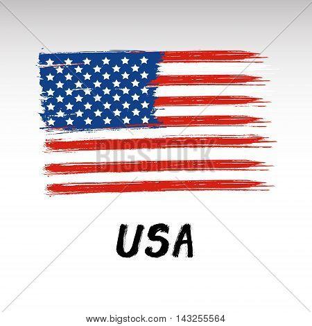 Flag Of USA - Color Grunge Icon