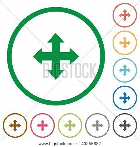 Set of Move arrows color round outlined flat icons on white background