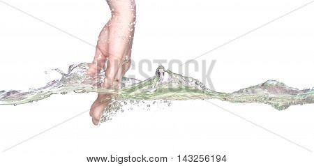 Woman hand in water dinamic on white background