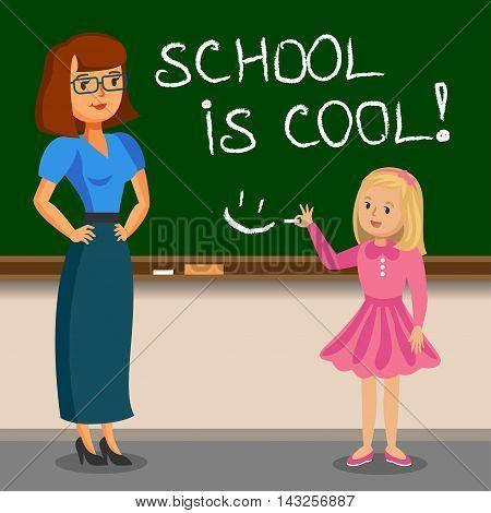 Teacher and schoolgirl writing on chalk board. Back to school. Vector illustration