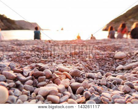 Sunset at Benirras Beach on Ibiza, famous place.