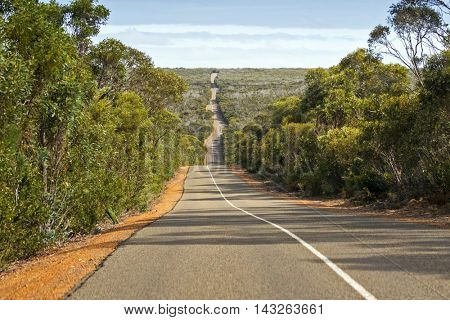 Windy wavy roadway, Cape du Couedic road, located on Kangaroo Island, South Australia