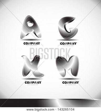 Alphabet letter 3d metal metallic logo design icon vector company element template a g h m
